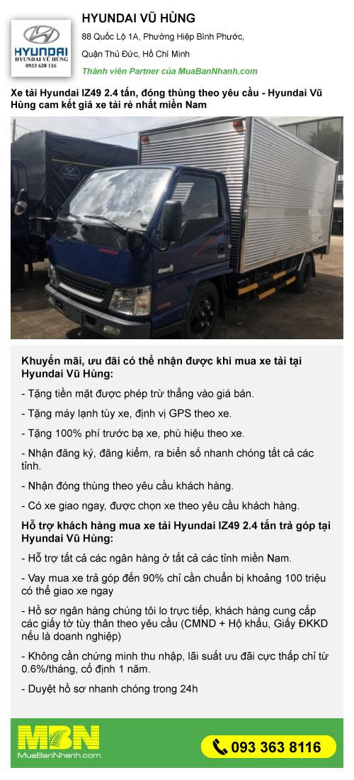 khuyến mãi xe tải 2.5 tấn hyundai iz49