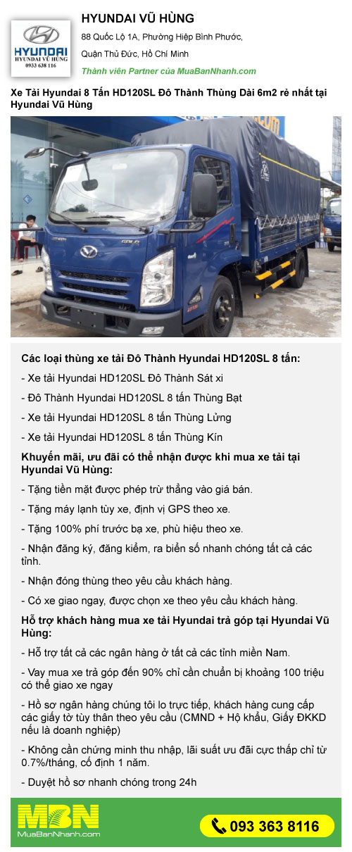 khuyến mãi mua xe tải 8 tấn hyundai hd120sl