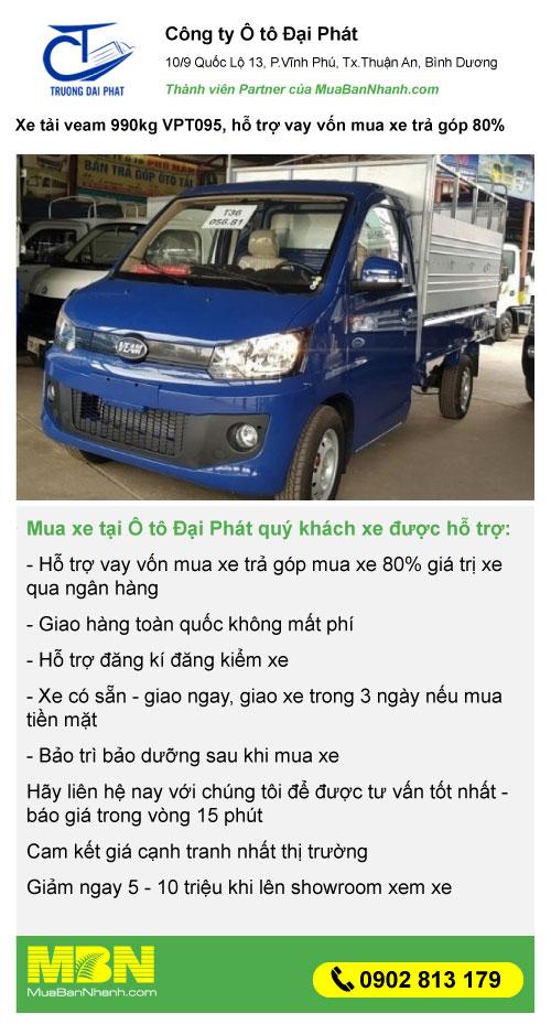 mua xe tải Veam 990kg giá rẻ trả góp