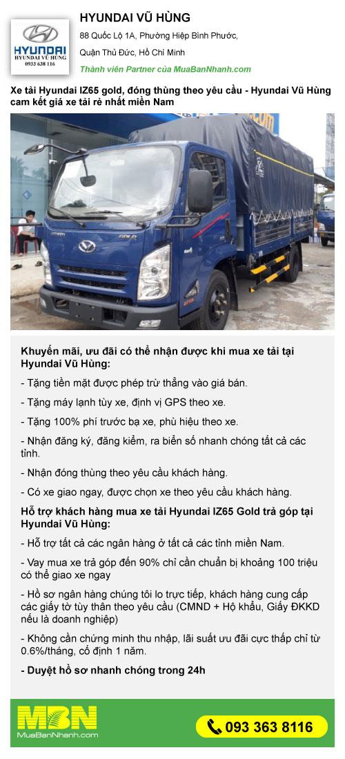 khuyến mãi mua xe tải iz65 2.5 tấn